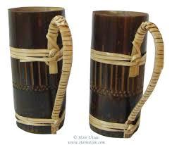 bamboo mugs small brown tribal set of 2 handmade discovered