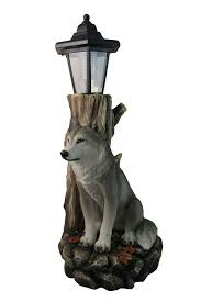spirit wolf outdoor solar lantern statue by dwk