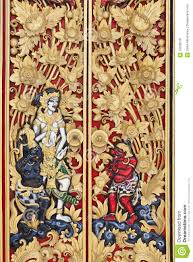 traditional balinese carved wood door stock photo image 52638078