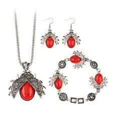ladybird ornament necklace bracelet drop earrings 4 22