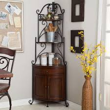 corner bakers rack with wrought iron frame and wood storage corner bakers rack with wrought iron frame and wood storage shelves