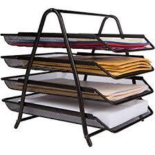 Desk Letter Organizer 4 Letter Tray Office Desk Organizer Black Office