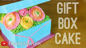 floral gift box floral buttercream gift box cake tutorial fancy favours
