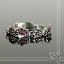 amethyst engagement rings custom made ruby and amethyst vintage styled leaf ring 14k white