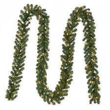 Decorative Garlands Home Home Accents Holiday 18 Ft Pre Lit Kingston Garland With Clear