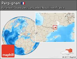 map of perpignan region free shaded relief location map of perpignan highlighted