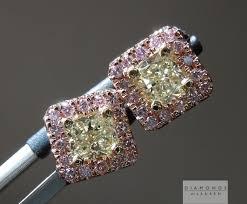 pink diamond earrings yellow diamond earrings halo earrings pink diamond earrings