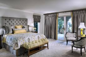 Bedrooms With Yellow Walls Romantic Yellow And Grey Bedroom With White Floral Pattern Master