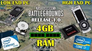 pubg 4gb ram pubg 1 0 release with 4gb of ram low end pc vs high end pc youtube