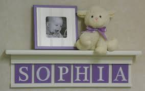 purple name baby nursery decor white or off white shelf