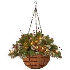 christmas hanging baskets with lights national tree company 20 in glittery mountain spruce hanging basket