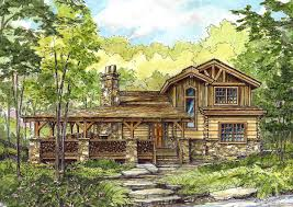 distinctive log cabin with wrap around porch u2014 porch and landscape