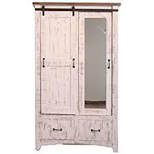 Door Armoire Amazon Com Distressed White Anton Sturdy Solid Wood Sliding Barn