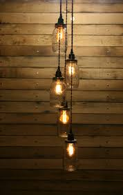 Diy Pendant Lights 5 Jar Pendant Light Jar Chandelier Light Staggered