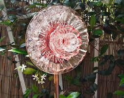 Garden Glass Art Pink Glass Yard Art Glass Garden Plate Flower Suncatcher Garden