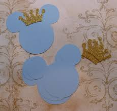 4 baby mickey mouse head shapes prince gold glitter crowns die