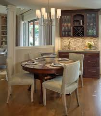 entry wallpaper dining room traditional with contemporary kitchen