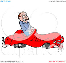 cartoon of a mad male driver in a sick broken down car royalty