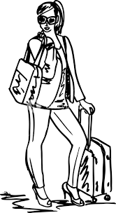 sketch of a beautiful young woman with travel bag vector