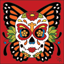 6x6 day of the dead butterfly sugar skull decorative tile