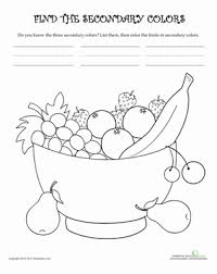 learn secondary colors worksheet education