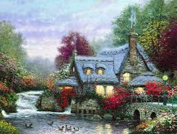 kinkade the miller s cottage thomashire painting the
