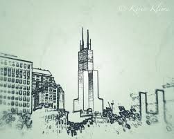 chicago art photography print 8x10 sears tower sketch outline