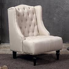 amazon com belleze tall wingback tufted fabric accent chair