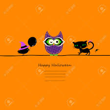 halloween card with owl cat and crow royalty free cliparts