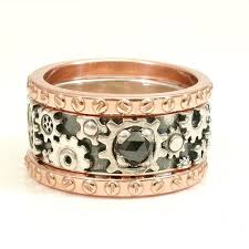 steunk engagement ring gold and black stacking gear ring steunk