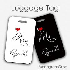 wedding luggage tags mr and mrs wedding luggage tags monogramcase