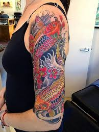 Koi Half Sleeve - colorful koi fish tattoos on half sleeve