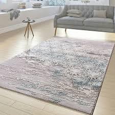 Blau F Schlafzimmer Teppich Wohnzimmer Florale Ornament Muster Kurzflor Teppich