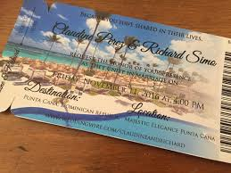 punta cana wedding invitation boarding pass save the date