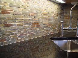 kitchen faux brick tile backsplash stacked stone kitchen