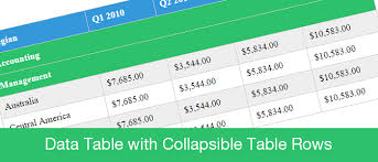 design a html table data table with collapsible table rows png