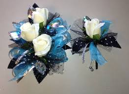 turquoise corsage turquoise black corsage boutonniere set let s garters