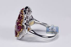 cluster rings womens ruby diamond cluster ring 14k two tone gold 7 72 ct