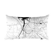 Ithaca Map Ithaca Map Black And White Throw Pillow By Modern Map Art