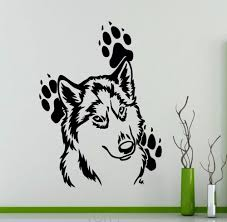 online get cheap wolf wall sticker aliexpress com alibaba group good wolf footprints wall sticker animals vinyl decal home bedroom interior decoration nursery removable mural