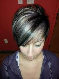 black low lights for grey short black hair with highlight like the black and blonde but on