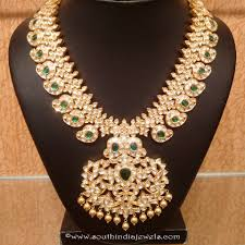gold diamond emerald necklace images Gold uncut diamond emerald necklace south india jewels jpg