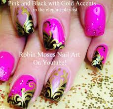 fun and formal nails pink black and gold filigree nail art design