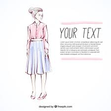 sketch of a woman dressed in shirt and skirt vector free download