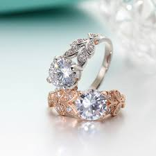 crystal silver rings images If me wedding crystal silver color rings leaf engagement gold jpg