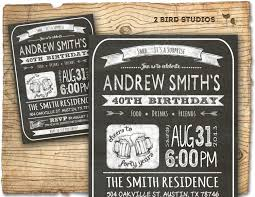 Invitation Cards For 40th Birthday Party 30th Birthday Invitation Male Birthday Party By 2birdstudios