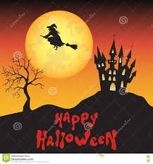 halloween background designs halloween background with witch moon and castle stock vector