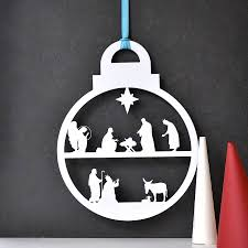 Decoration Of Christmas Crib by Christmas Nativity Wreath Bauble By Clouds And Currents