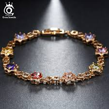 crystal link bracelet images Orsa jewels star shape gold color crystal chain link bracelet aaa jpg