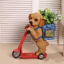 dog flower arrangement resin scooter dog tray key change holder ocarina home decoration